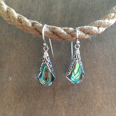 Abalone Diamond Filigree Earrings