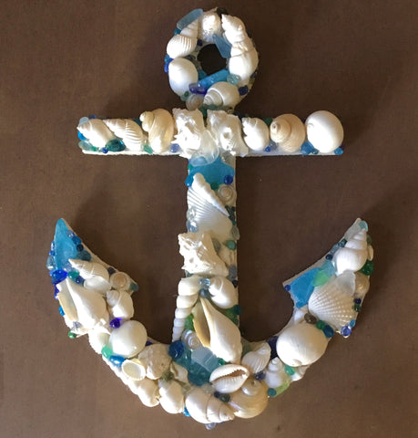 Anchor Seaglass & Shell Wall Art