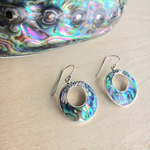 Abalone Filigree Hoop Earrings