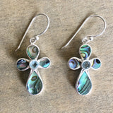 Abalone Blue Topaz Cross Earrings