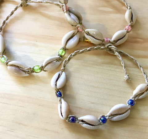 Cowrie Shell Braided Anklet