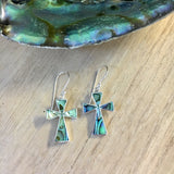 Abalone Cross Earrings