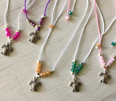 Sea Turtle Crystal Cord Anklet