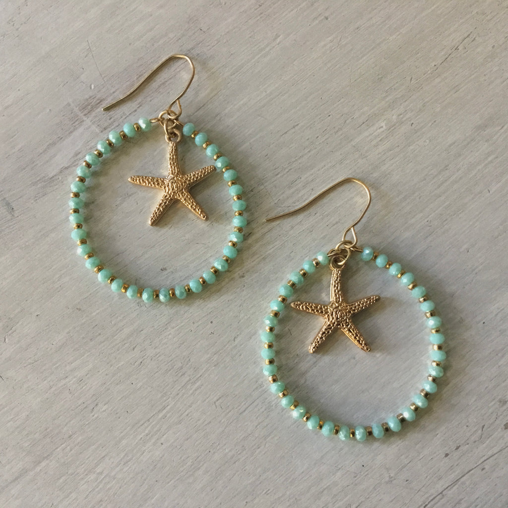 Starfish Crystal Hoop Earrings