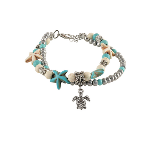 Sea Turtle Charm Double Anklet