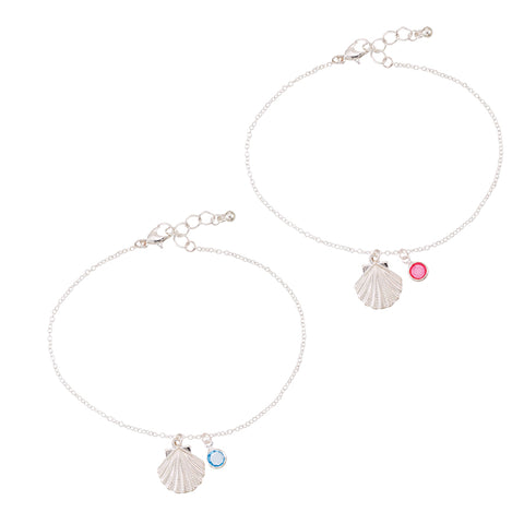 Seashell Crystal Drop Anklet