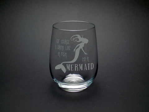 Drink like a Mermaid Wine Glass