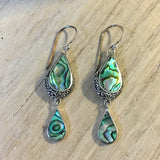 Abalone Droplet Filigree Earrings