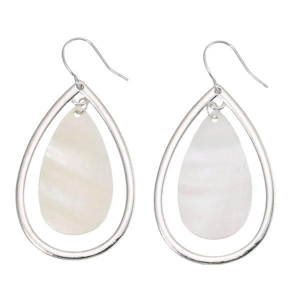 MOP Tear Drop Hoop Earrings