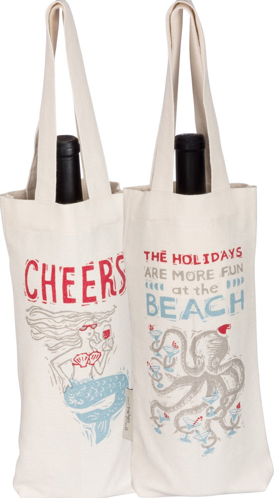 Holiday Beach Wine Tote