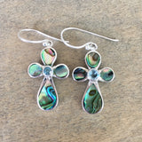 Abalone Stone Cross Earrings
