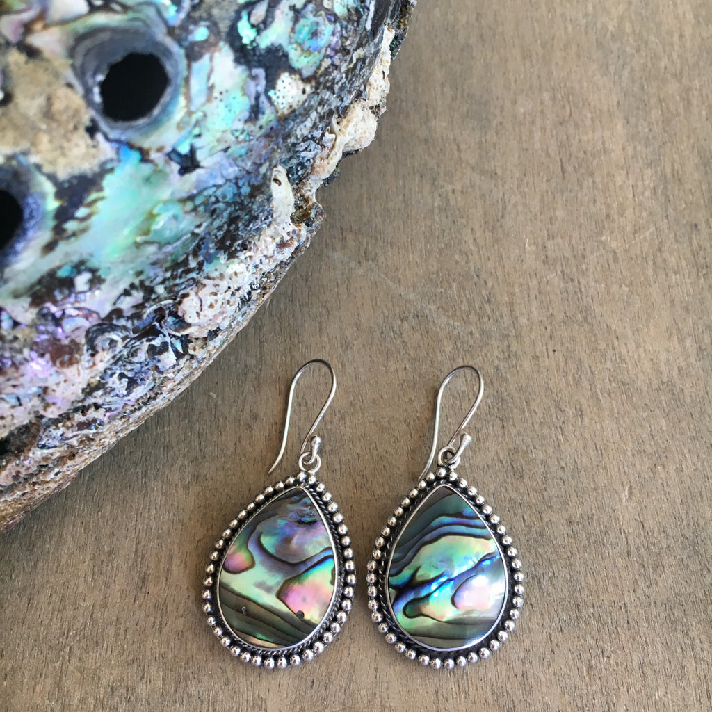 Abalone Peti Point Tear Drop Earrings