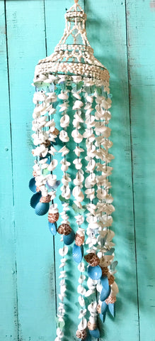Blue Butterfly Seashell Chandelier
