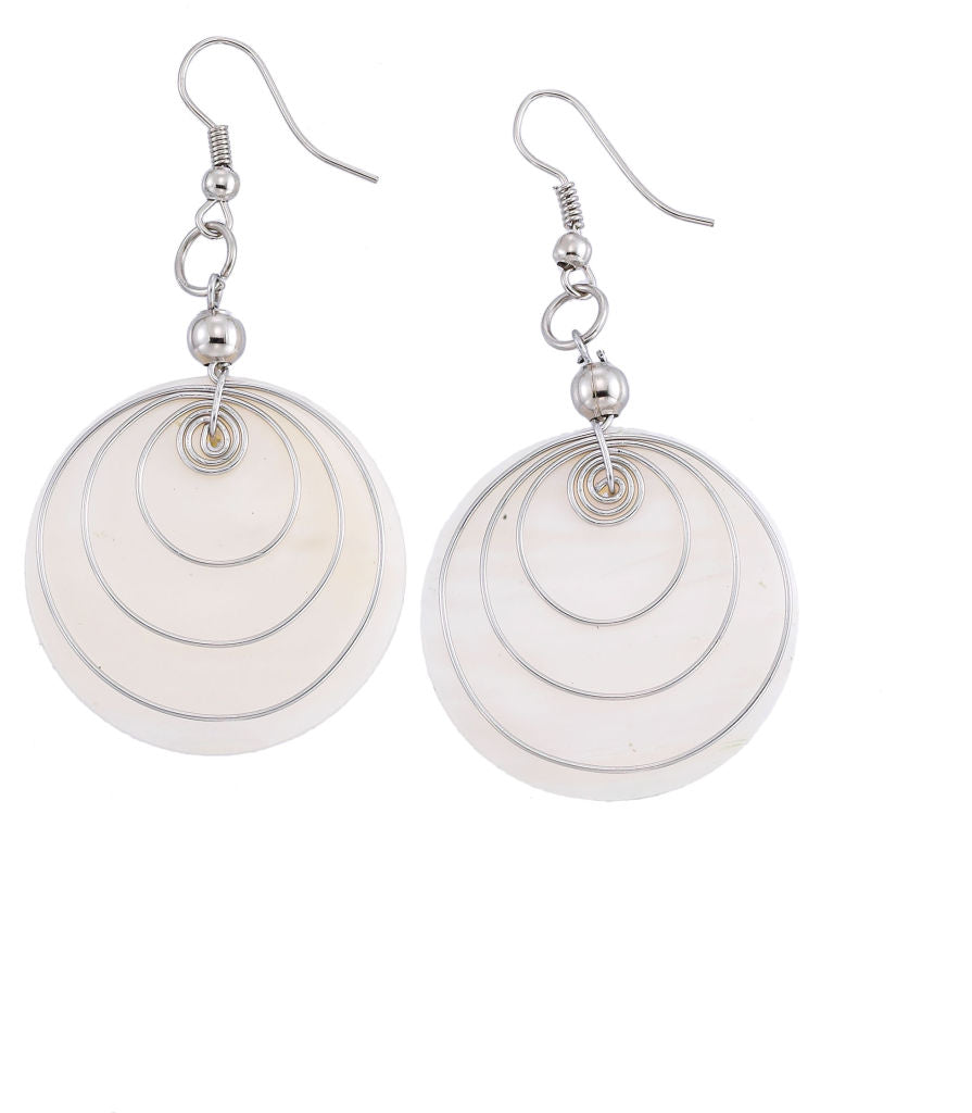 MOP Spiral Circle Earrings