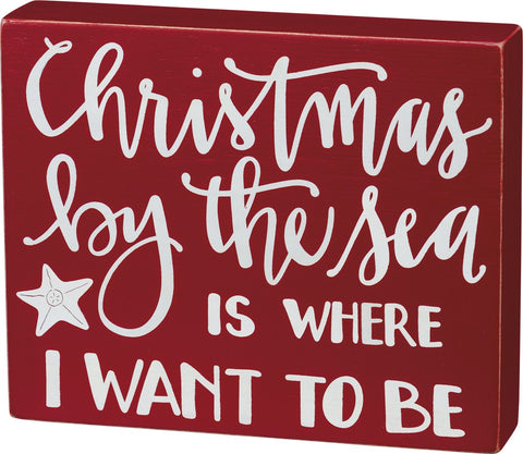 Christmas By The Sea Box Sign