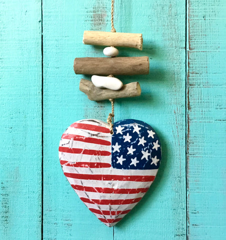 Patriotic Driftwood Heart Mobile
