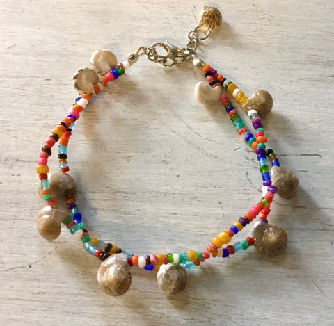 Umbonium Shell Seed Bead Anklet