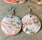 Red Abalone Simple Shape Earrings