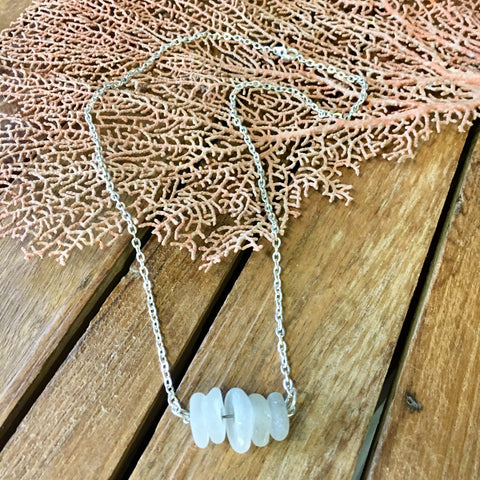CA Seaglass White Bar Necklace