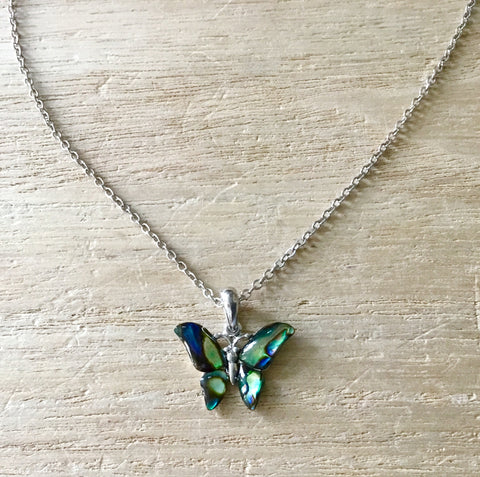 Abalone Dainty Butterfly Necklace