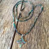 Abalone Floral Cross Necklace