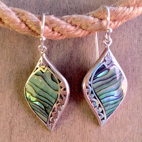 Abalone Filigree Leaf Earrings