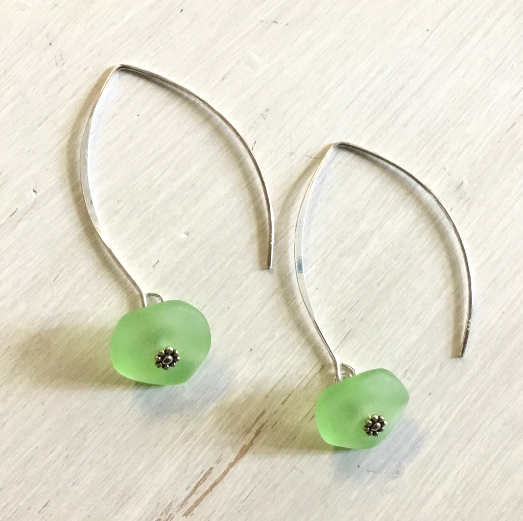 Sea Green Seaglass Hoop Earrings