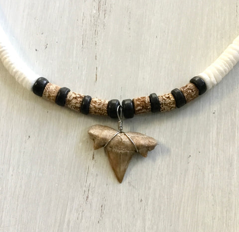 Puka Shell Cork Shark Tooth Necklace