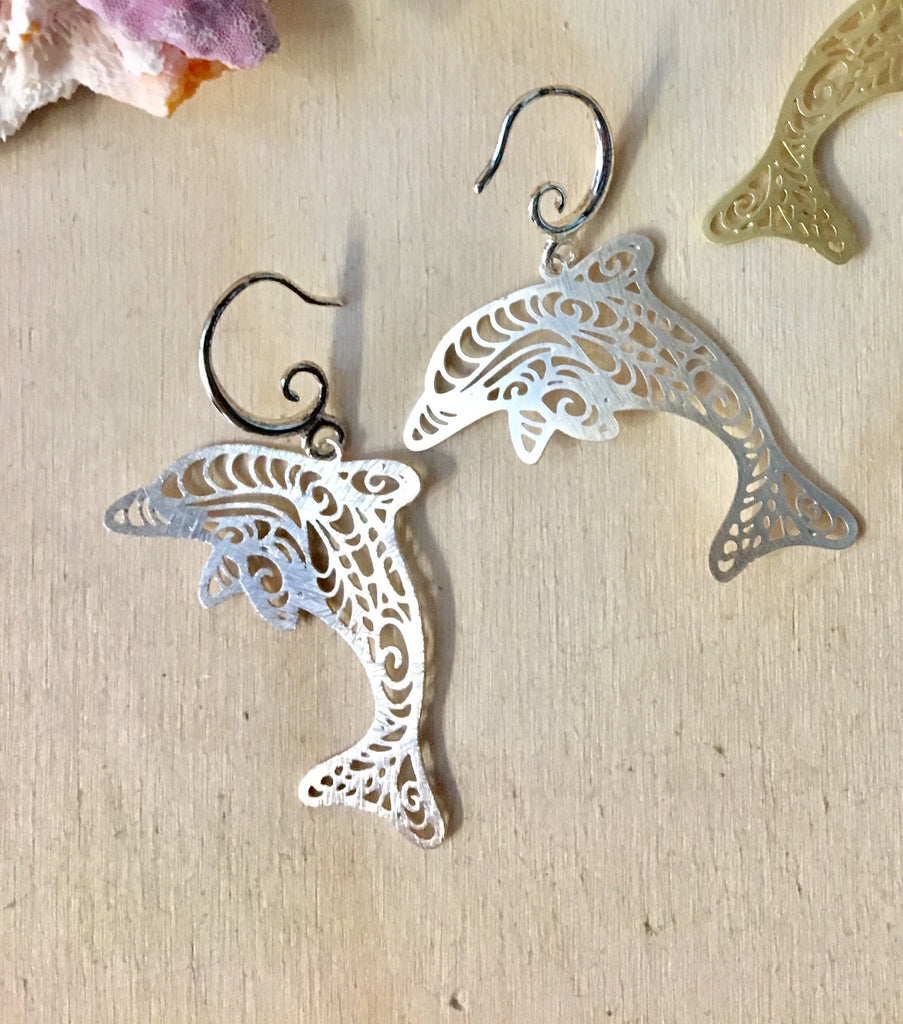 Silhouette Dolphin Brass Earrings