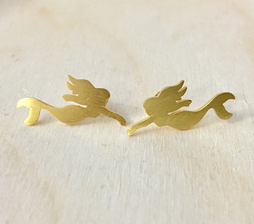 Swimming Mermaid Brass Earring Studs