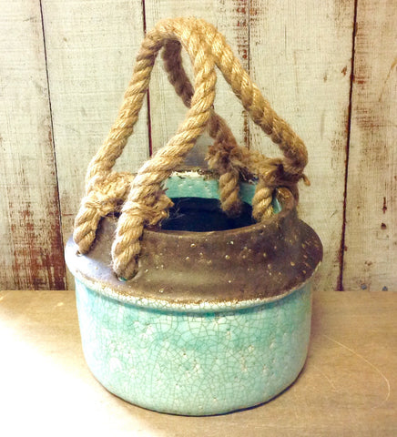 Roped Handle Clay Planter