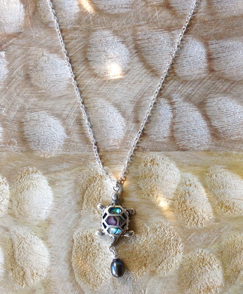 Sea Turtle Abalone Pearl Necklace