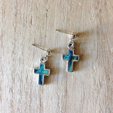 Mini Abalone Cross Earrings