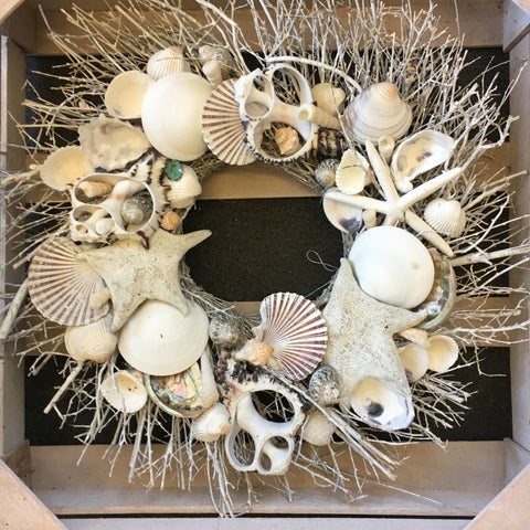 Coastal White Seashell Wreath