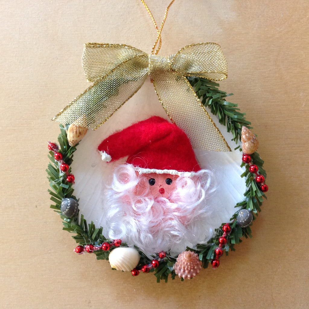 Moon Shell Santa Wreath Ornament