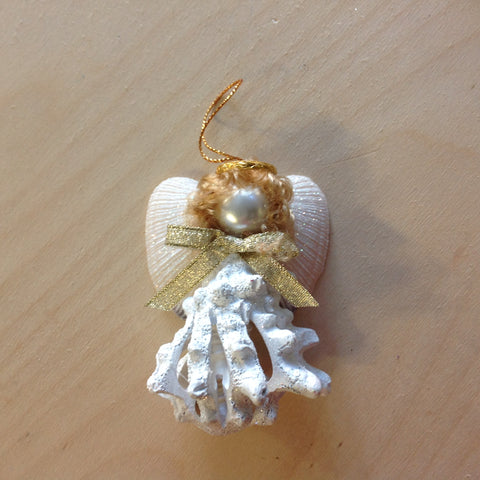 Sliced Shell Angel Ornament
