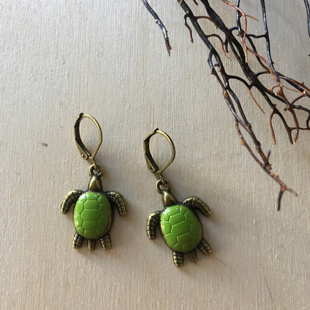 Tiny Green Turtle Earrings