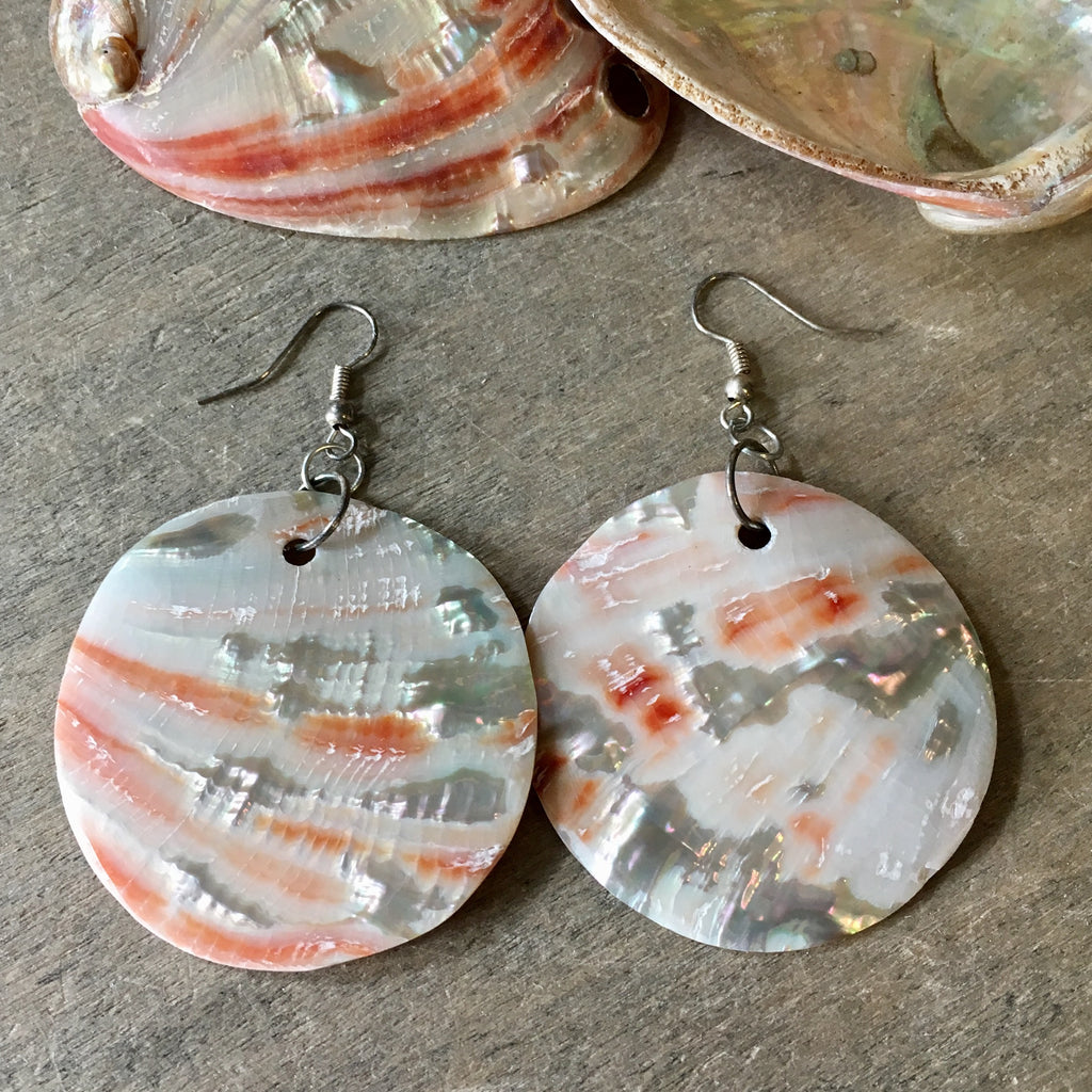 Red Abalone Circle Earrings
