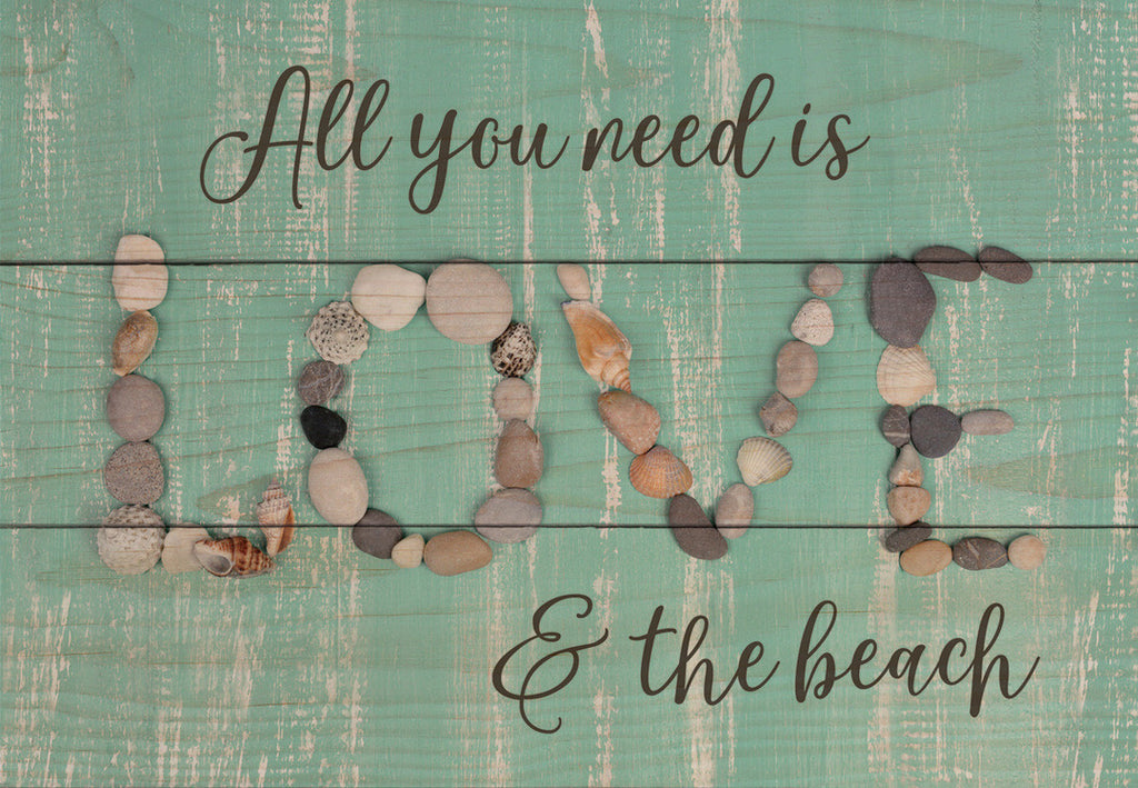 Love & The Beach Wood Plank Sign