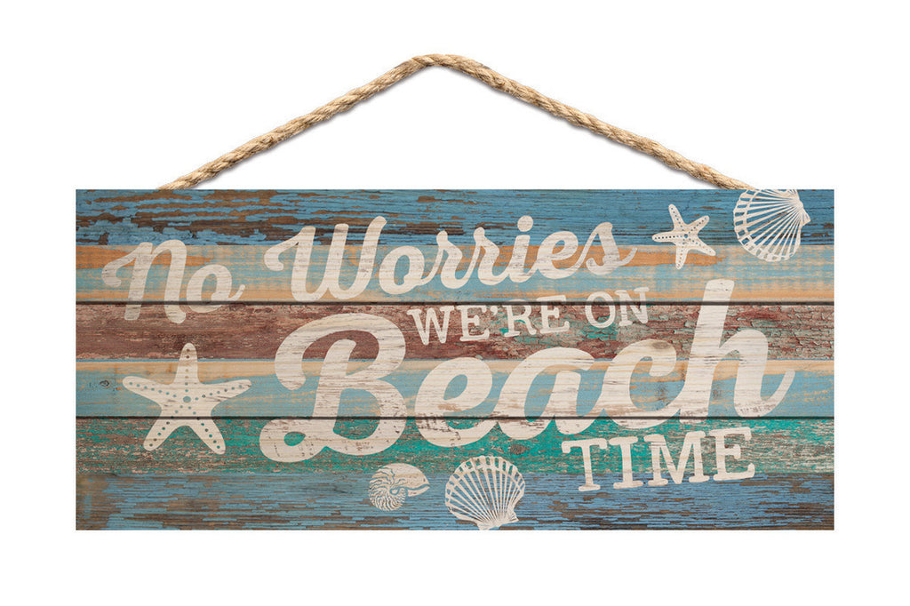 No Worries Beach Time Rope Sign