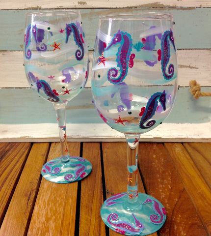 Seahorse Painted Wine Glass