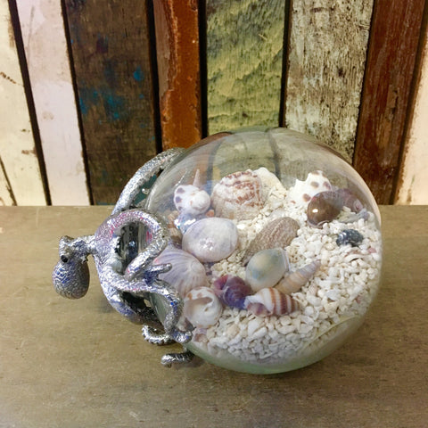 Silver Octopus Globe Shell Art