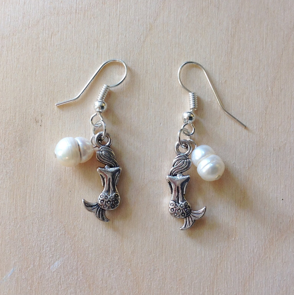 Mermaid Pearl Charm Earrings
