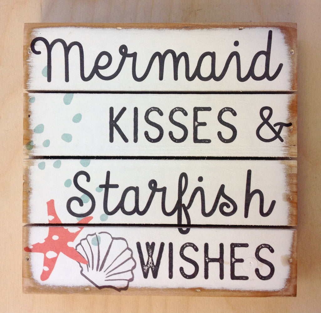 Mermaid Kisses Slotted Box Sign