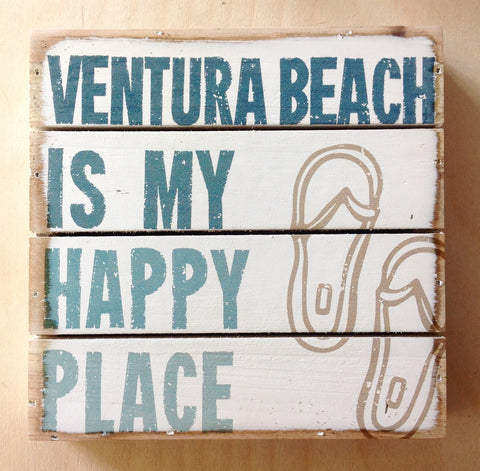 Ventura Happy Place Slotted Box Sign