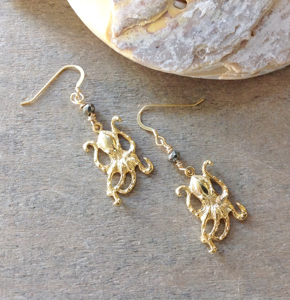 Golden Octopus Earrings