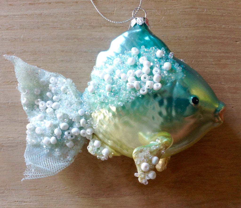Beaded Fish Glass Ornament