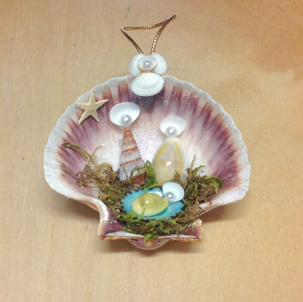 Colorful Seashell Manger Ornament