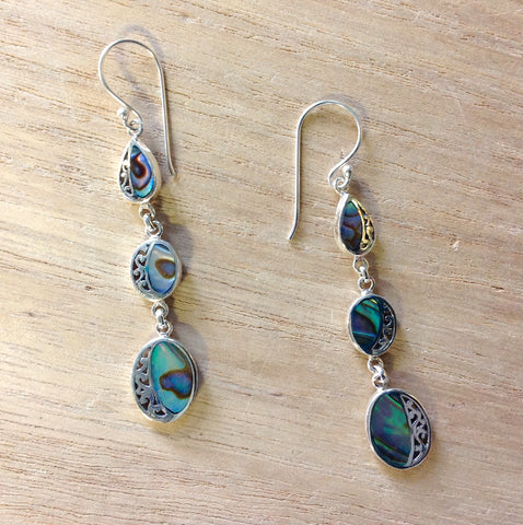 Abalone Filigree Drip Drop Earrings