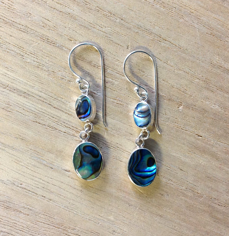 Abalone Double Droplet Earrings